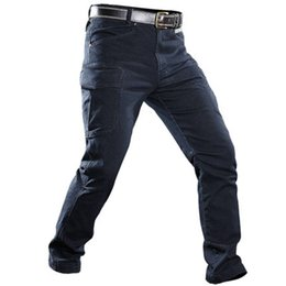 tactical jeans Promo Codes - Men Combat Cargo Jeans Tactical Army Pants Men Casual Motorcycle Denim Biker Jeans Stretch Multi Pockets Pants