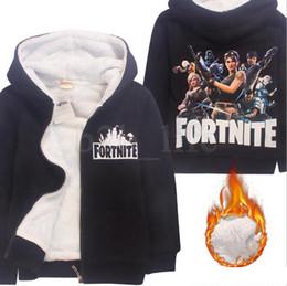 Wholesale Thicken Hoodies - Kids Fortnite Hoodies Thicken Fleece Winter Warm Printed Battle Sweatshirts Jackets Jumpers Zipper Hooded Coats 2 Colors OOA5220