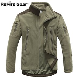 vêtements d'équipement tactique Promotion ReFire Gear Hiver Style Polaire Veste Homme Épaissir Polaire Vêtements De Survêtement Manteau Armée Vêtements Plusieurs Poches Tactique Veste