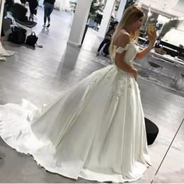 Вестидос новия корсеты онлайн-Бальное платье Свадебные платья 2018 новый с плеча аппликации длинные свадебные платья корсет спинки длинные Vestidos де novia