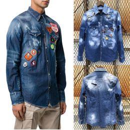 6e14db265da Patches Jeans Shirt Cool Guy Distressed Bleach Wash Painted Trim Fit Denim  Shirts Man Casual Cowboy Top