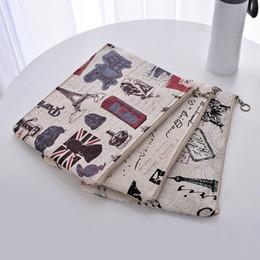 einfache laptop-taschen Rabatt Britischen Stil einfache iPad Tasche Büro Schreibwaren Tasche Eisenturm einfache Leinentasche Laptop Tasche LZ1889