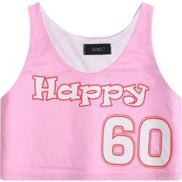 Top Donna 2018 Lettera Happy Pattern Stampa Slim Fit Mini Tank Sport Style Jersey Skinny Vest per ragazza Short Design Cami Pink da