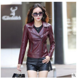 Wholesale Sexy Red Leather Jacket - Red Leather Jacket Women 2017 New Fashion Autumn Long Sleeve Slim Sexy Short Coats Black PU Motorcycle Jacket Plus Size 3XL