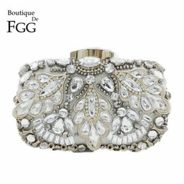 Wholesale Prom Clutch Bags - Wholesale- Silver Crystal Beaded Sequins Vintage Women Handbag Metal Clutches Evening Bags Bridal Purse Wedding Party Prom Clutch Hand Bag