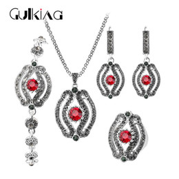 Wholesale Antique Jade Rings - Gulkina Green Stone Jewelry Sets For Women 4pcs sets Rings Necklace Bracelet Earrings Antique Silver Red Crystal Turkish Jewelry