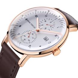 Relógio impermeável japonês on-line-MINI FOCO Masculino Relógios Negócios Assista Movimento japonês Calendário Luminous impermeável couro genuíno de Metal Strap 0052G