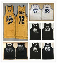 Wholesale black yellow rims - NCAA Movie Jerseys #96 Tupac Shakur Dirbie 72 Biggie Smalls Out Birdmen Jersey #23 Motaw Above The Rim Black Stitched Basketball Jersey