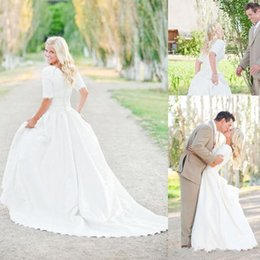 Wholesale Tea Length Bridal Skirts - 2018 Modest Plus Size Wedding Dresses With Half Sleeves Full Lace Top Cheap Bohemian A-Line Court Train Satin Bridal Gowns Button Back