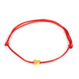 Pulsera de cadena roja diy online-2019 Lucky Golden Cross Heart Bracelet Para Mujeres Niños Cadena Roja Pulsera Hecha A Mano Ajustable DIY Joyería