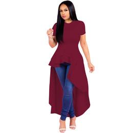 2019 vestidos de sotaque vermelho Moda feminina tamanho grande vestido de noite irregular babados saia hem vestido de cor sólida saia de smoking de mangas curtas