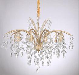 Deutschland Vintage eisen kristall kronleuchter gold led lampe 8/10 köpfe suspension für wohnzimmer baum blatt ast messing hängelampe g862 cheap vintage brass crystal chandelier Versorgung