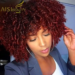wine synthetic wig Australia - Aisi Beauty Heat Resistant Fiber Hair Long Afro Kinky Curly Wigs Synthetic Wine Red Women Wigs