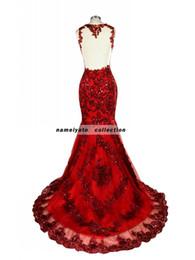 Teppichproben online-Abendkleid Mermaid Dark red Lace echte Probe Sweep Zug / Pinsel Zug ärmelloses backless Abendkleider Perlen roten Teppich Kleid