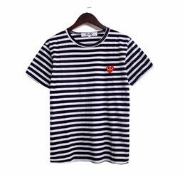 Wholesale Women Tees - 2018 Summer New Play vetements Tee Cotton Short Sleeve Breathable Men Women love heart stripe tshirt Casual Outdoor Streetwear T-shirts