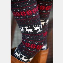 Wholesale Winter Snowflake Print Leggings - Wholesale- winter warm new Xmas Snowflake Reindeer New Arrival Women Printed Leggings Knitted Fashion Skinny Leggins Pants Women