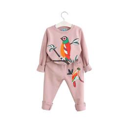2019 roupas bonitos do bebê para o inverno Lindo Animal Impresso Meninas Roupas Set Outono Inverno Casual Bebê Meninas Camisa Macia Pant Set Bonito Pássaro Impressão de Manga Comprida Roupa Dos Miúdos roupa roupas bonitos do bebê para o inverno barato