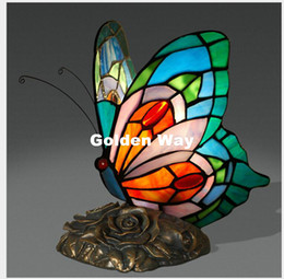 Wholesale Deco Art Glass Stain - Free Shipping Butterfly Table Lamp European style Stained glass Decor Lamp Bedside Living Room Study Lights Bird Table Lamps