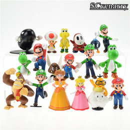 Wholesale Super Mario Peach - 18pcs  Lot Super Mario Bros Brinquedos Yoshi Dinosaur Peach Toad Goomba Pvc Action Figures Collectinble Model Toys