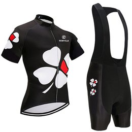 Wholesale Uci Cycling - Summer Spring 2018 UCI team BLACK Flower pro cycling jersey 9D gel pad bike shorts set Ropa Ciclismo summer bicycling Maillot wear