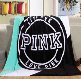 Wholesale Travel Blankets Wholesale - Love Pink Blankets Blanket 130*150cm Plane Travel Plaids Bedding Towel Pink Letter Victoria Sleeper Blanket NEW YEAR Gift 2018