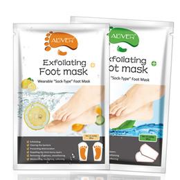 calcetín exfoliante Rebajas Tratamientos de spa de pie de áloe limón Tratamientos de máscara de pie Peel Off para quitar la piel muerta Hidratante Salud Cuidado de los pies 2 piezas = 1 par 54g