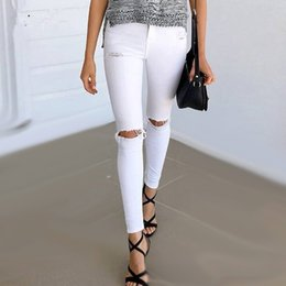 Wholesale black denim jeggings - Summer Style White Hole Ripped Jeans Women Jeggings Cool Denim High Waist Pants Capris Female Skinny Black Casual Jeans
