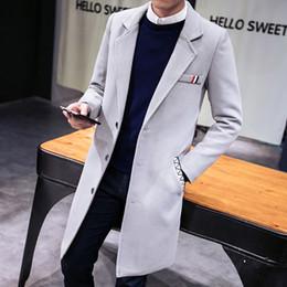 7adeef1bb6387 Çince Sonbahar ve kış yeni erkek katı renk yün ceket, İnce Kore moda iş uzun