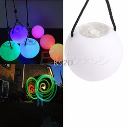 Wholesale belly poi - Pro LED Multi-Coloured Glow POI Thrown Balls Light up For Belly Dance Hand Props N08
