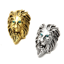 Wholesale metal diy punk - New Large Snap Jewelry Rhinestone Vintage Lion Head Metal 18mm Snap Buttons for DIY 18mm Bracelets Necklace Punk