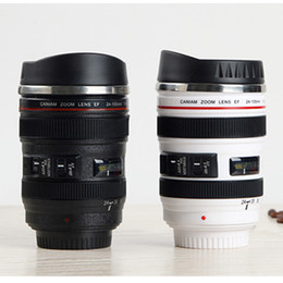 Wholesale White Thermos Cup - 400ML Camera Lens Mug - Stainless Steel Coffee Cup Mug - Canon Lens Shape Novelty Travel Thermos Milk Tea Water Mugs