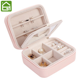 Wholesale glossy gift bags - Small Portable Travel Leather Jewelry Storage Bag with Mirror Jewelry Organizer Gift Box for Rings Earring Necklace and Bracelet