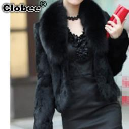 Wholesale White Mink Collar - 2017 6XL Women Winter Short Style Fox Fur Collar Noble Elegant Warm 2018 Mink Overcoat Female Plus Size Fur Coat Jacket V584