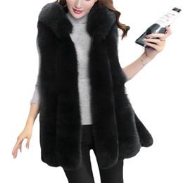 Wholesale Girls Purple Fur Coat - 2017 Women's winter faux fur vest gilet hooded spring coat black long Female Girls adult jacket parka Overcoat Outwear fashion