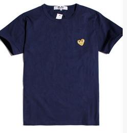 Tee shirts rouges en Ligne-22 couleur Chaude Hommes Femmes Noir rouge coeur DES play GARCONS CDG broderie Coeur rayures à manches courtes T-shirts Broderie Coeur Rouge tops tee