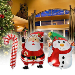 wholesale helium balloons cartoon Coupons - Christmas Balloons 45*63cm Indoor Outdoor Navidad Decoration Santa Claus Snowman Elk Helium Balloons Festive Party Supplies