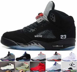 Wholesale Metallic Tables - Air Retro 5 Red Royal Suede Blue White Grape Cement Olympic OG Black Metallic Oreo Men Basketball Shoes 5s Sports Sneakers Size 8-13