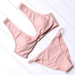 Wholesale Pink Bikini Top Push Up - New Solid Bikini Top Knot Front Low Waist Swimsuit Women Swimwear Padded Beachwear Bathing Suit Push-Up Bikini Set Thong