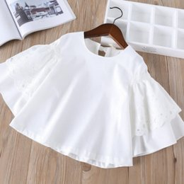 Wholesale Kids Blouse Embroidery - 2018 New Children lace white shirts girls lace hollow embroidery falbala princess tops spring kids back lace-up Bows loose blouses R2719