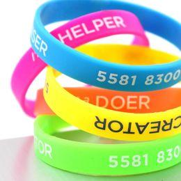 персонализированные резиновые браслет дешевые браслет пром выступает пром украшения souvernirs подарки идеи от Поставщики натуральные прорезывающие кольца