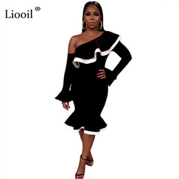 1d259543f496 Liooil Sexy Off One-Shoulder Ruffle Dress Donna 2018 Summer Fashion Flare  Sleeve Bodycon Black Party Asimmetrico Midi Abiti asimmetrico vestito club  sexy ...