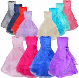 Wholesale Inside Dress - Retail New Flower Girls Dresses with Hoop Inside Flower Embroidered Party Wedding Bridesmaid Princess Dresses Formal Children Clothes B11