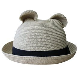1d632c2ac2b05 Women s Cute Cat Ear Round Top Bowler Straw Sun Summer Beach Roll-up Curly  Brim Hat Cap With Cotton Band inexpensive cap ear pink cat