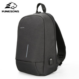 Wholesale 12 Laptop Shoulder Bag - Kingsons 2018 New Shoulder Bags Men Women Laptop Messenger Anti-theft USB Charging Chest Bag 13.3 inch Laptop Bag for Macbook 13