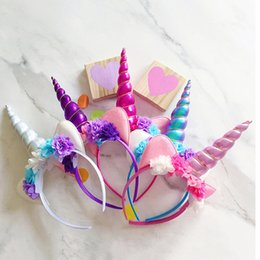 Wholesale Wholesale Props For Parties - Princess Unicorn Headband With Flower For Girl Baby Cat Ears Hair Band Infant Headwear Photography Props For Cosplay Birthday Party