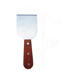 Жарочная сталь онлайн-бесплатная доставка 304 нержавеющей стали мороженое инструменты, Жареное мороженое шпатель, мороженое скребок, лопата, совок с деревянной ручкой