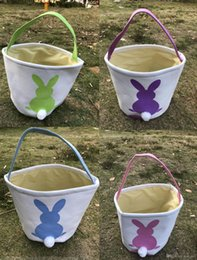 Wholesale Bucket Ears - Bunny Ear Easter Buckets Gifts Bag Cotton Canvas Material Easter Rabbit Bags to Carry Eggs and Candy Kids Gifts 23X25cm WSC013