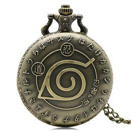 Wholesale naruto figure new - HOT Anime Naruto Vintage Leaf Figure Pocket Watch Men's Quartz Watch with Fob Chain NARUTO Fans Cosplay Collectibles Toys Pendant Gifts Item