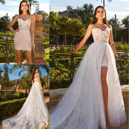 Wholesale Detachable Beaded Bridal Train - 2018 New Sexy Short Wedding Dresses with Detachable Skirt High Split Beaded Waist Lace Beach Bridal Gowns Vestidos De Noiva