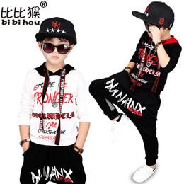 Wholesale Kids Hip Hop Dance Pants - Bibihou 2017 new fashion print cool Baby boys hooded t-shirt hip hop dance harem pants boy sport clothes suits Kids clothing set